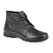 Pavers Water Resistant Leather Lace Up Ankle Boot - Black
