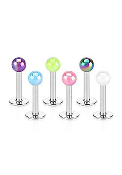 Urban Male Pack of Six Surgical Stainless Steel Pearl Coated Labret Studs