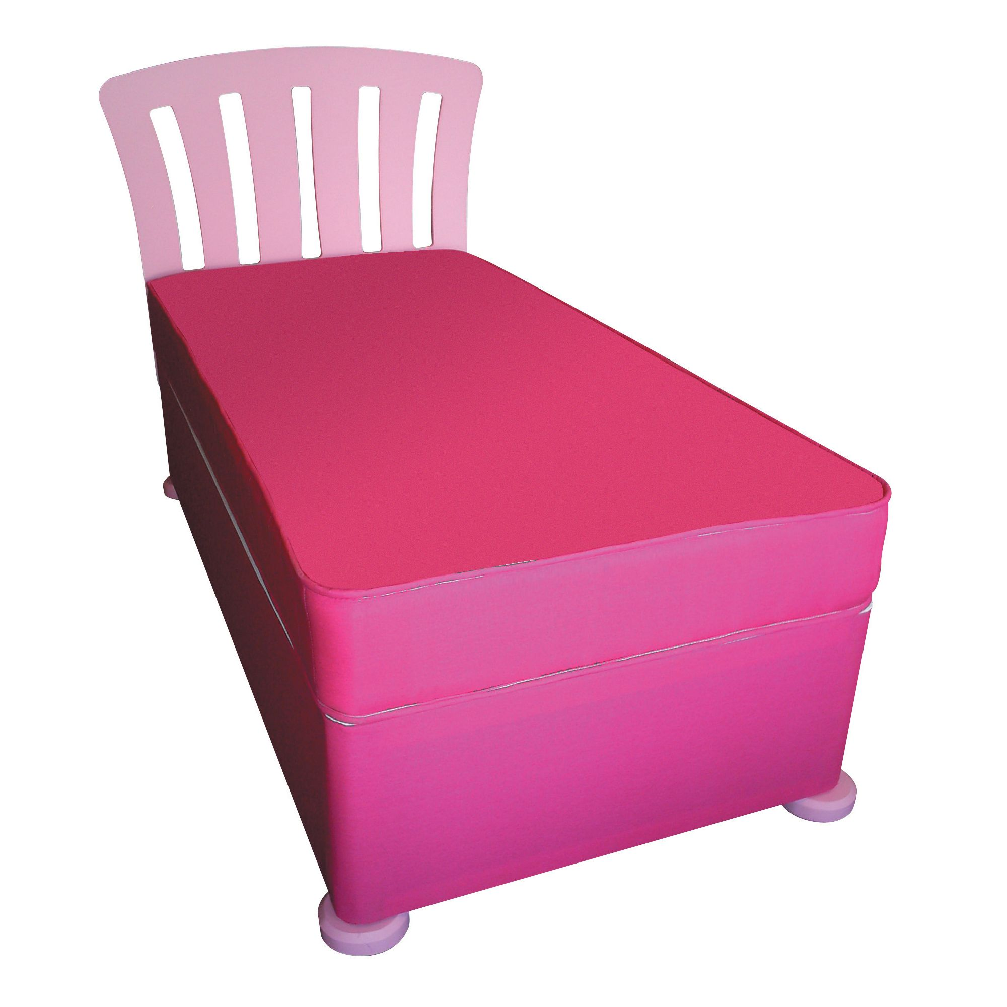 Kidsaw Single Divan with Mattress, Headboard and Bunfeet - Pink at Tesco Direct