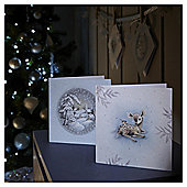 Glitter Snow Scene and Bambi Christmas Cards, 10 pack