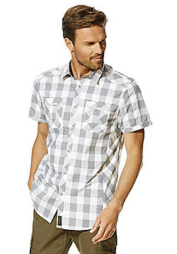 F&F Twin Pocket Contemporary Fit Short Sleeve Shirt - Grey