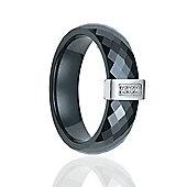 Jewelco London Silver cubic zirconia Black Ceramic Buckle Style Fashion ring Size