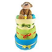 Bright 3 Tier Baby Boy Nappy Cake
