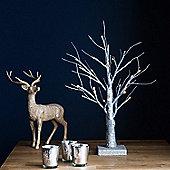 45cm Indoor Pre-Lit LED Silver Glitter Twig Tree