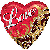"""Love Damask Heart Balloon - 18"""" Foil (each)"""