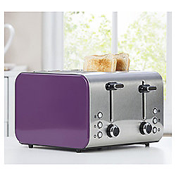 Tesco 4 Slice Toaster - Purple & Stainless Steel