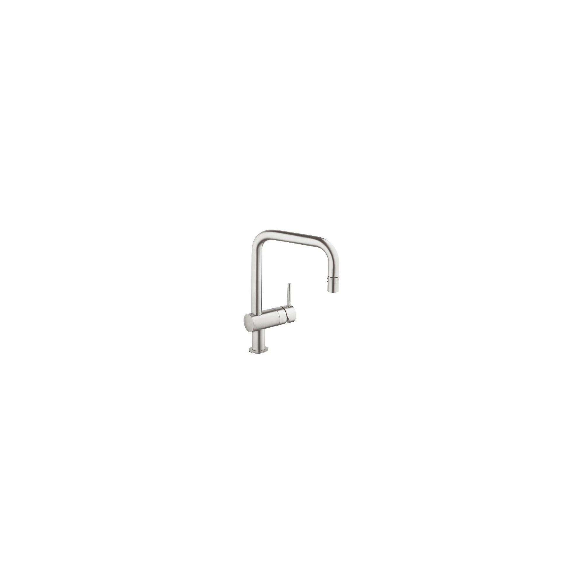 Grohe Minta Mono Sink Mixer Tap, U-Spout, Pull-Out Spray, Single Handle, SuperSteel at Tesco Direct