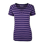 Robinson Stripe Womens Tee Shirt Lightweight Breathable Wicking Active Top - Purple