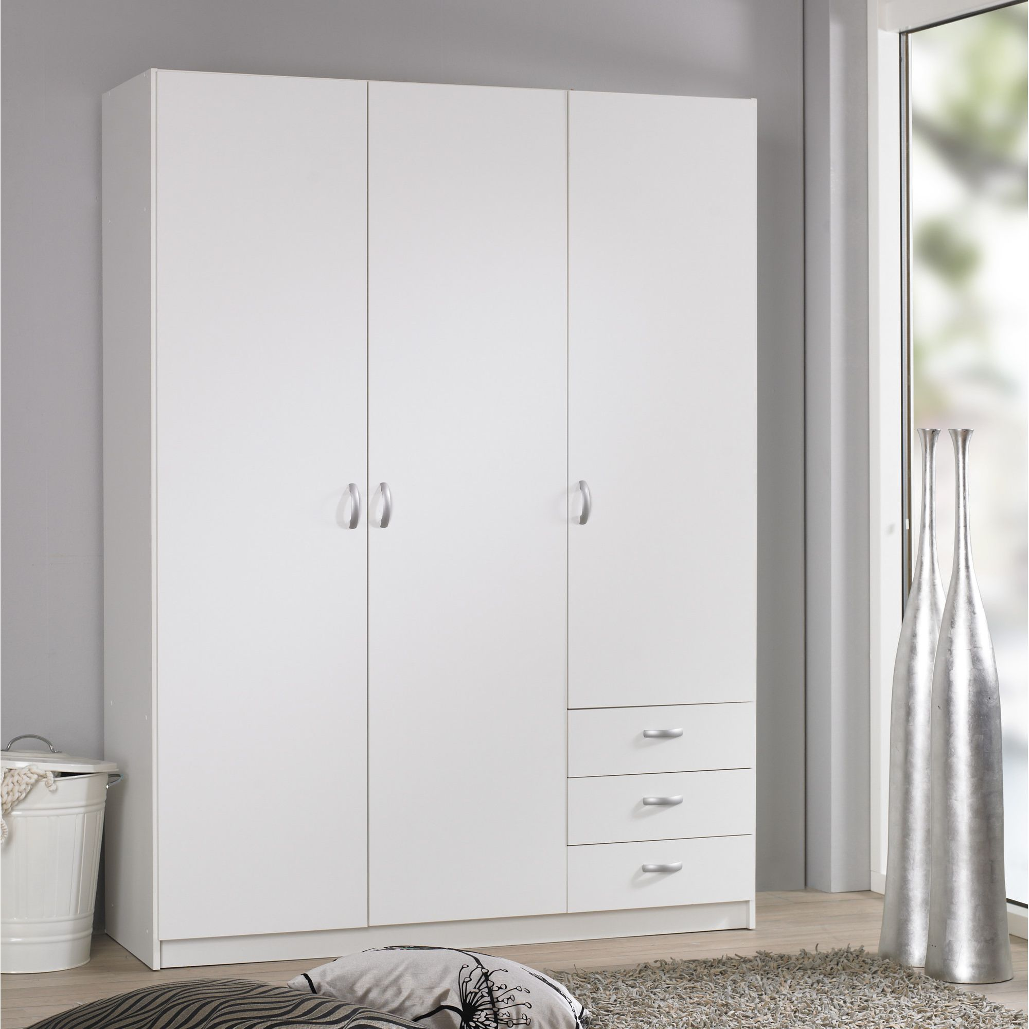 Tvilum Focus Three Drawer Wardrobe - White at Tesco Direct