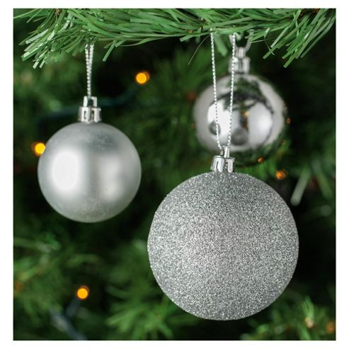 Tesco Silver Mixed Bauble Pack, 40 Pack