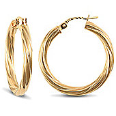 Jewelco London 9ct Yellow Gold 3mm round-tube Twisted hoop Earrings