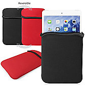 Reversible Neoprene Sleeve for iPAD MINI & iPAD MINI 2 - Cover is BLACK on the outside (or RED when reversed)