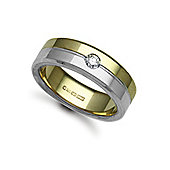 Jewelco London 18ct Yellow & White Gold 7mm Flat Court Diamond set 10pts Solitaire Wedding / Commitment Ring
