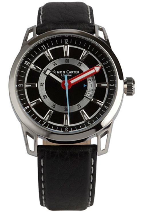 Simon Carter Gents Black Leather Strap Watch WT1906BK