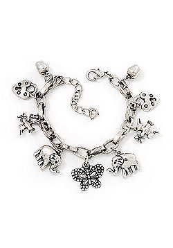 Chunky Oval Link Charm Bracelet In Silver Tone Metal - 18cm Length with 5cm extension