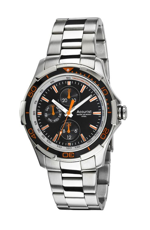 Accurist Mens Rubber | Stainless Steel 24 hour, Day & Date Watch MB1161BO