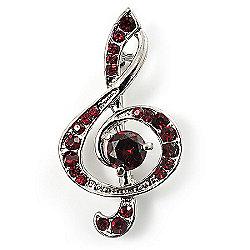 Silver Tone Crystal Music Treble Clef Brooch (Burgundy Red)