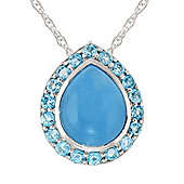 Gemondo Sterling Silver 3.35ct Blue Jade & 0.64ct Topaz Pear Cluster Pendant on Chain