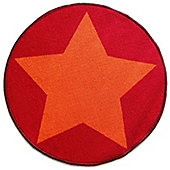 Circular Star Mat - Red and Orange 67 x 60 cm