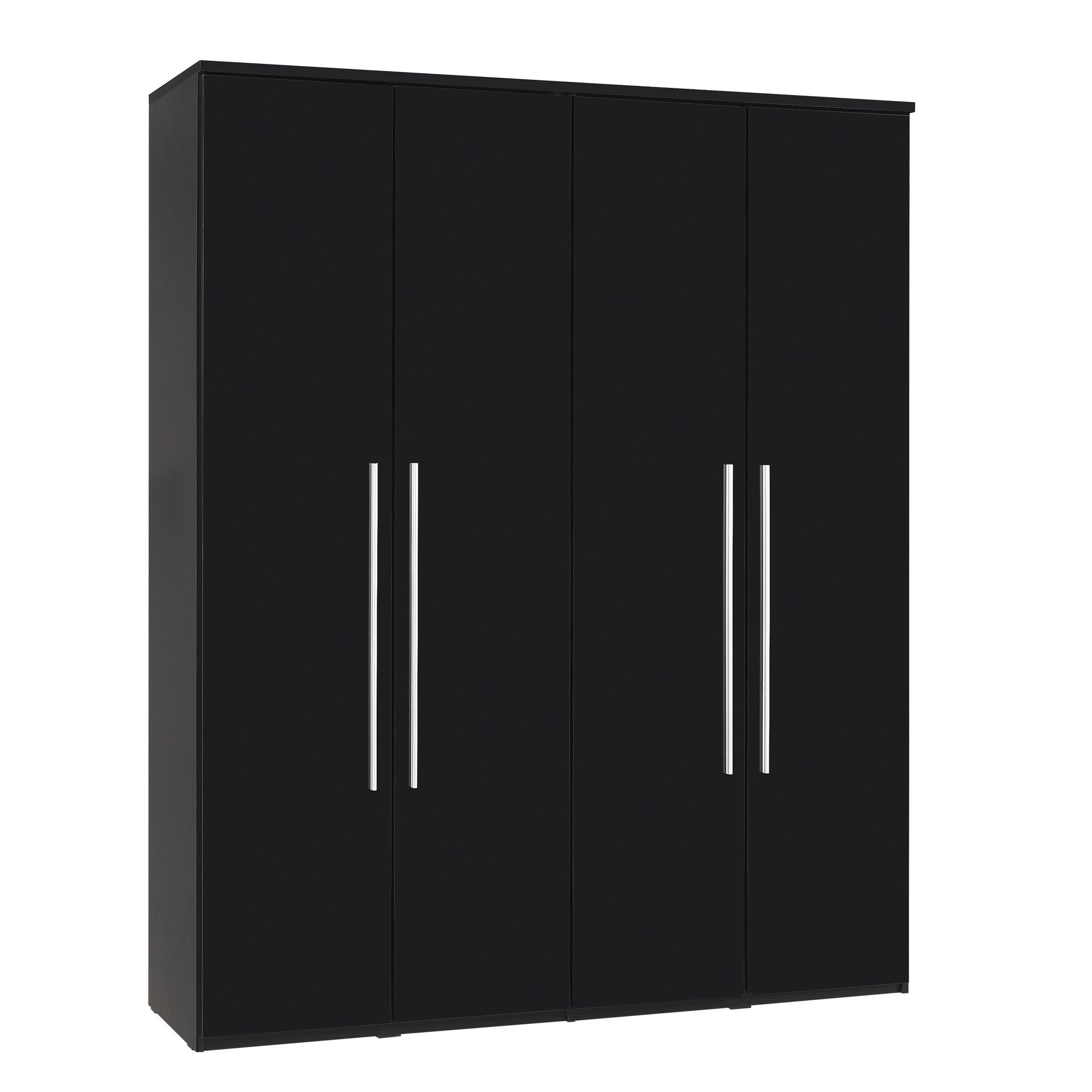 Urbane Designs Romain Four Door Wardrobe in High Gloss Black at Tesco Direct
