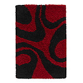 Oriental Carpets & Rugs Vista Red/Black Rug - 150cm L x 80cm W