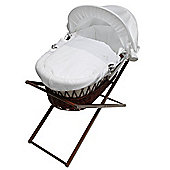 My Little Stars White Waffle Moses Basket in Dark Wicket