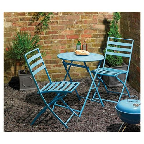 Milan Round Steel Folding Bistro Set - Blue