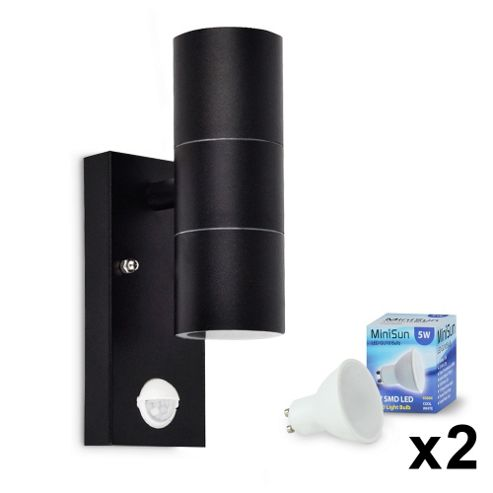Buy Modern Outdoor LED PIR Up & Down Wall Light in Black Metal with Daylight Bulbs from our Wall ...
