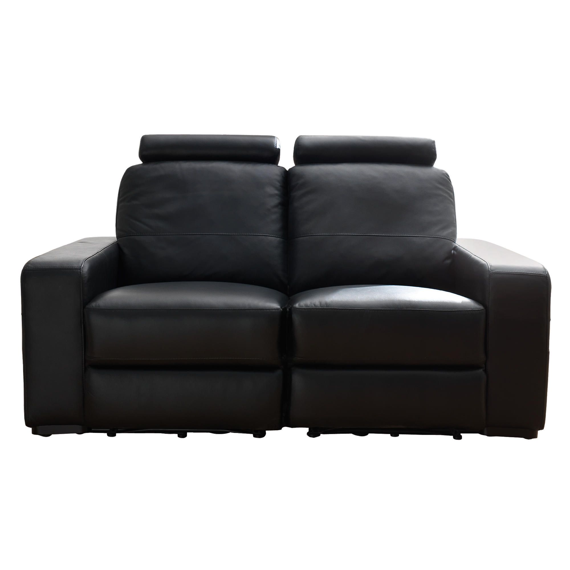 Barcelona Leather Small Recliner Sofa Black at Tesco Direct