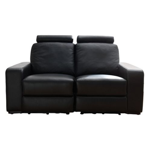 Barcelona Leather Small 2 seater  Recliner Sofa Black