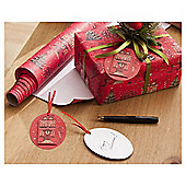 Red Village Scene Christmas Wrapping Paper, 3m