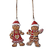 Set of Two Mr & Mrs Gingerbread Hanging Christmas Decorations