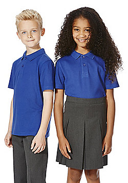 F&F School 2 Pack of Unisex Polo Shirts with As New Technology - Blue