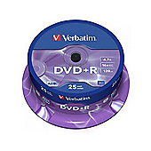 Verbatim DVD+R 4.7 GB 16x Matt Silver Spindle - 25 Pack