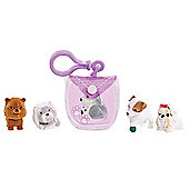 Puppy In My Pocket 5 Puppy Pack with Purple Clip On Pouch