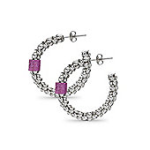Jewelco London Sterling Silver Crushed Ice Hoop Earrings - Hot Pink