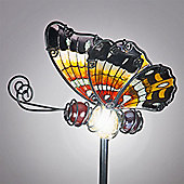 Garden Glows Solar Powered Red Glass Butterfly Garden Stake