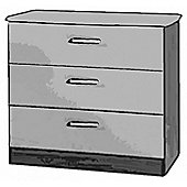 Welcome Furniture Mayfair 3 Drawer Chest - White - Ebony - White