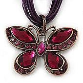 Violet/Deep Purple Diamante 'Butterfly' Cotton Cord Pendant Necklace In Bronze Metal - 38cm Length/ 8cm Extension