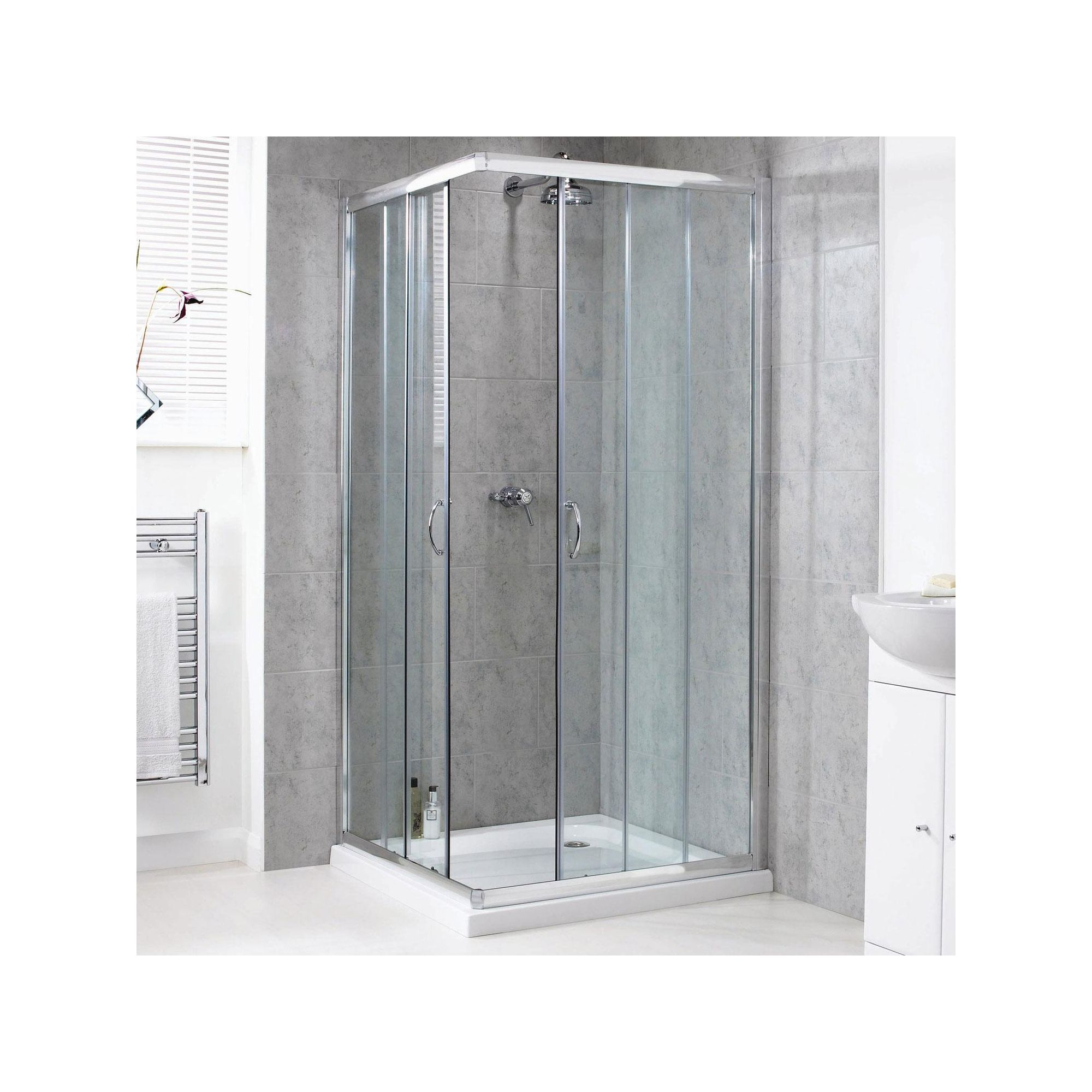Aqualux Shine Corner Entry Shower Door, 900mm x 900mm, Polished Silver Frame, 6mm Glass at Tescos Direct