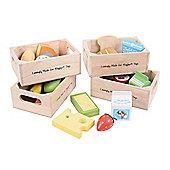Bigjigs Toys BJ316 Wooden Play Food Healthy Eating Dairy Food Set