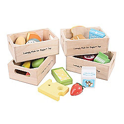 Bigjigs Toys BJ316 Wooden Play Food Healthy Eating Dairy Food Set