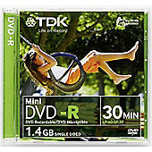 TDK DVD-R 1.4GB 8cm 1-2x 30min Jewel Case 5 Pack