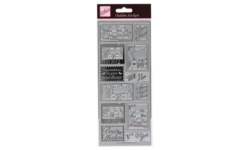 Outline Stickers Framed Cottage Stamps Silver