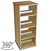 Swivel - 4 Tier Rotating Cd Dvd Blu-ray Game Storage Shelves - Oak