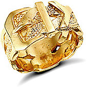 Jewelco London 9ct Solid Gold medium weight Buckle design Ring
