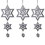 Set of Three Silver Glitter Multi-Star Hanging Decorations