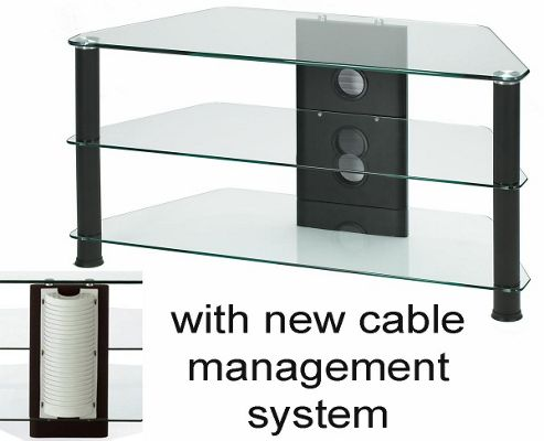 Medium Size Corner TV Stand - Black Legs and Clear Glass