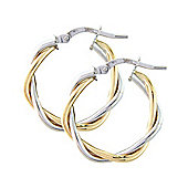 Jewelco London 9ct White and Yellow Gold - Hoop - Earrings - Ladies