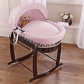 Clair de Lune Dimple Dark Wicker Moses Basket (Pink)